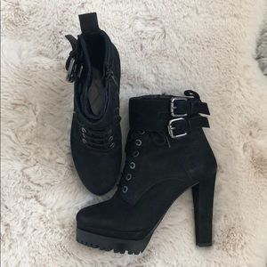 All Saints size 8 9/39 boots black buckle zip lace